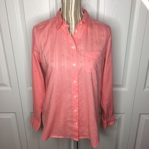 "LOFT salmon pink ""Softened"" button down shirt"